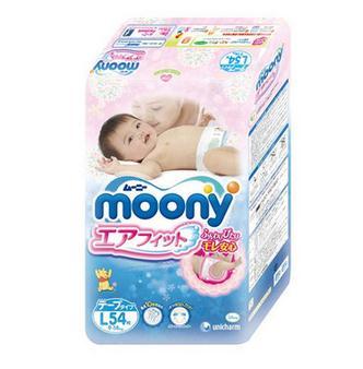 限地区:moony 尤妮佳 婴儿纸尿裤 L54片*4包